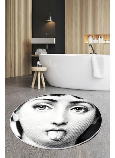 Arma House 80X80 Dijital Kaymaz Tabanlı Smile Fornasetti Banyo Ve Kapı Paspası Renkli